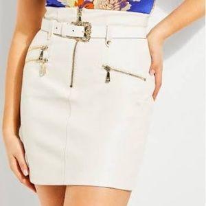 Guess vegan leather high rise moto skirt